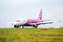新石垣空港に到着したピーチ初便