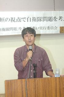 自衛隊誘致で「住民投票を」と訴える渡瀬さん=官公労共済会館、登野城