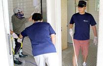 ANAグットラック会が公共トイレ清掃を行った=16日、玉取崎展望台