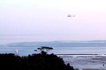 空と海から捜索が行われた=新川川河口付近 9日午前8時ごろ