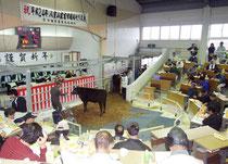 ご祝儀相場に沸いた八重山家畜市場=13日午後、同家畜市場