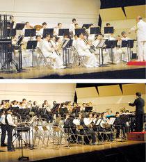 海上保安庁音楽隊(上)と石垣第二中吹奏楽・マーチングバンド部が迫力ある演奏会を繰り広げた=22日夜、市民会館大ホール
