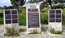 宮古島市に建てられた慰安婦の碑。「日本軍はアジア太平洋の11の植民地から連行した少女・女性に性奴隷として生活することを強いた」と書かれている。