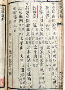 18世紀に琉球人が表した「指南広義」。赤線が尖閣諸島についての記述(内閣文庫蔵)
