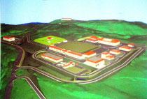 与那国町久部良地区に建設される陸上自衛隊沿岸監視部隊の駐屯地、アンテナ施設のイメージ図。説明会で提示された。町景観条例などに基づく協議を経て変更される可能性がある。