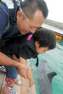 イルカとの触れ合いを楽しむ子ども=26日、新港地区のドルフィンファンタジー石垣島