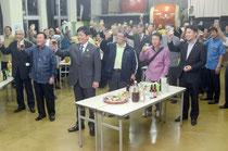 感謝の宴は会費制で1人2千円。つつましく、にこやかに労をねぎらい合った=石垣市商工会ホール