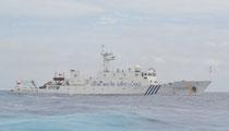 尖閣周辺で領海侵犯した中国の海洋監視船「海監66」=今月13日、高洲丸から撮影