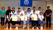 出場した中学生ら。どの生徒も充実感をうかがわせた。(前列右から2人目から)吉田君、久松さん、前濵さん=石垣市健康福祉センター