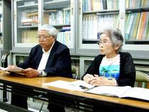 東書版の採択と副読本化に反対する声明を発表した、「竹富町の子どもたちに真理を教える教科書採択を求める町民の会」=2日午後、沖教組八重山支部