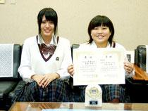 全国大会へ出場する(右から)黒島さんと伊良皆さん=9日午後、八重山商工高校