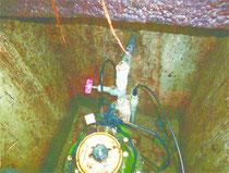 確認された給水栓からの盗水装置=石垣市内、5月(土地改良区提供)