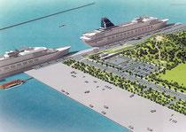 港湾計画改定で整備計画が盛り込まれた新港地区のクルーズ船バースのイメージ図。大型クルーズ船が2隻同時に寄港できる
