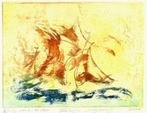 Farbradierung Segel im Wind