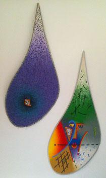 POISON & PERFEKT (c) De Toys, 1988 (Dispersionsfarbe mit Quarzsand auf Hartfaserplatten in Tropfenform, 150 x 70 cm)