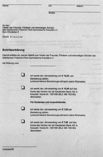 Beitrittserklärung zum Förderverein