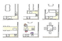 キッチン平面パターンあれこれ:アイランド(中央下)は、囲炉裏(右下)に似ている。