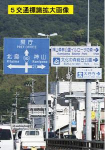 上鮎喰橋上からの交通標識画像