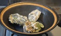 土鍋で蒸し牡蠣