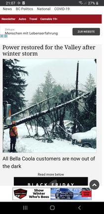 Bella Coola nach dem Wintersturm
