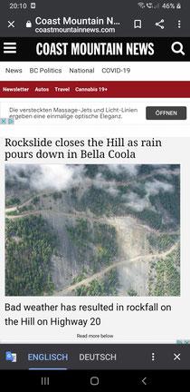 Der Regen bringt die Passtrasse ins rutschen