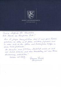 Schirmherr Bürgermeister Hermann Duschl  gratuliert
