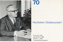 1966 gratulierte die Firma Kienzle zu Rieggers 70. Geburtstag