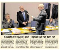 Bürgermeisterkandidat bewirbt sich persönlich vor dem Rat