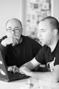 Jürgen Müller (слева) и Михаель из команды разработчиков Jimdo