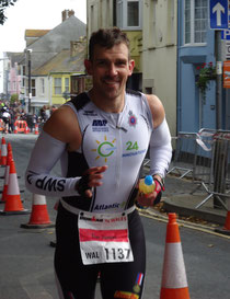 Tim James part way through the marathon at the Ironman Wales 2011