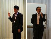 四国銀行の大倉啓司支店長と第一コンサルタンツ技術顧問の望月雄二氏