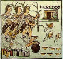 Indiens apportant le tribut au palais. Codex Florentine, XVIe.