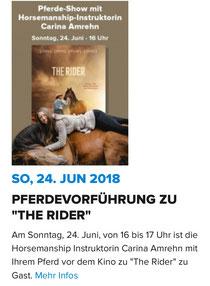Aufführung zum Kinostart von The Rider am Cineplex Mainfrankenpark