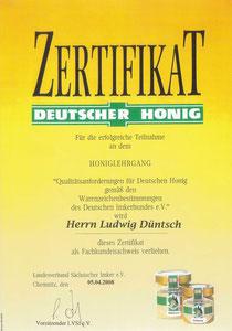 Zertifikat Honiglehrgang