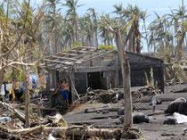 durch eine Schlammlawine zerstörtes Haus
