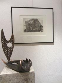 """Wolfgang Kopkow - Radierung """"Elburs III"""" und Bronze """"Lacatois"""""""