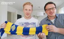Allez Gelb-Blau: Sebastian Schlumberger (links) und der künftige VfL-Teammanager Henning Baumann.