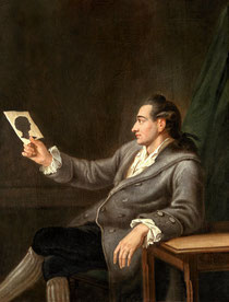 """""""Der junge Johann Wolfgang Goethe mit einem Scherenschnitt"""" Gemälde von Georg Melchior Kraus ,1775"""