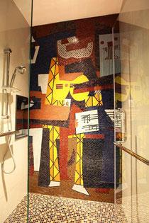 Mural en frontal de plato ducha.Picasso.