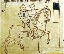 Manuscrit du XIIIe siècle: dessin de Matthieu Paris, moine bénédictin de l'Abbaye de Saint-Alban
