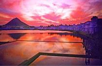 Holy lake in Pushkar. Ein Ort an dem ein Teil Gandhi's Asche ruht.