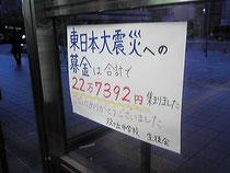 東日本大震災への募金は合計で 22万7392円集まりました ご協力ありがとうございました。双ケ丘中学校生徒会