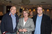Gäste der Veranstaltung im Hotel Kaiser: Howard Jacques, Karin Evers-Meyer und Volker Block