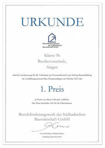 Urkunde - 1. Preis