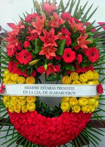 Corona de flores bandera España