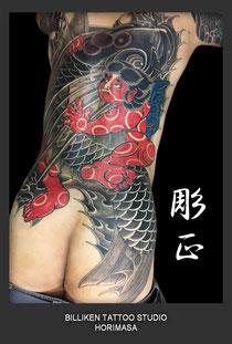 抜き彫り (金太郎の抱き鯉)