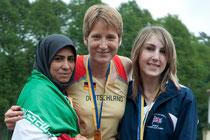 Die Medaillengewinner im 100m-Sprint der Damen.