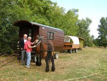Une belle roulotte et son cheval