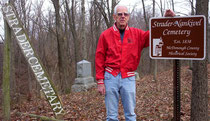 George Burton accepting sign for the Strader-Nankivel Cemetery