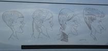 """""""Wir 4"""", am Auto als Grafik des Karrikaturisten R. Buchacher"""